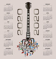 2020 calendar with a whimsical guitar background vector image vector image