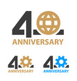 40 years anniversary industry gear globe number vector image vector image