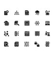 a pack of data management glyph icons