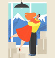 a young couple embracing in a room among boxes vector image vector image