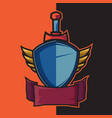 badge blue winged shield and sword for e-sport
