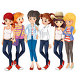 Beautiful women wearing jeans vector image vector image