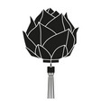 black and white chinese lotus lantern silhouette vector image vector image