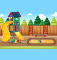 blank kids playground with slides in scene vector image vector image