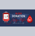 blood donation horizontal poster vector image vector image