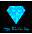 blue polygonal diamond Happy Valentines Day card vector image