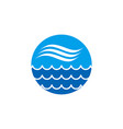 blue wave icon on circle shape background vector image