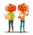 boy girl with a pumpkin instead of head and a vector image vector image