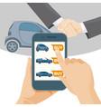 buy car online means modern smartphone vector image vector image