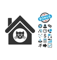 Cat House Flat Icon with Bonus vector image