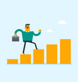 caucasian businessman running on profit bar chart vector image vector image