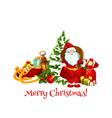 christmas holiday gifts and santa vector image vector image