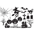 collection of halloween symbols and characters vector image vector image
