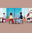 couple sitting at table enjoying food happy vector image vector image