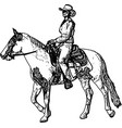 cowgirl riding horse sketch drawing vector image