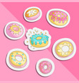 cute funny girl teenager colored icon set sticker vector image vector image