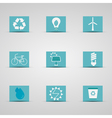 Eco friendly icon set in lovely blue and silver vector image vector image