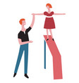father and daughter on exercise playground vector image