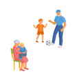 flat cartoon grandparents and children set vector image