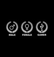 gamer gender gaming male female design vector image