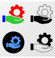 gear service hand eps icon with contour vector image vector image