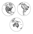 Globes scheme settlements America and Australia vector image vector image