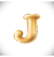 golden letter j made of inflatable balloon vector image vector image