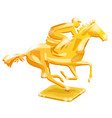 golden trophy horse racing vector image vector image