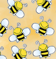 Hand drawn doodle bee pattern vector image