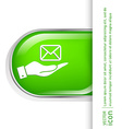 hand holding a postal envelope e-mail symbol icon vector image vector image