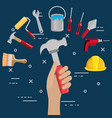 hand with tool and under construction equipment vector image