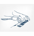 hands piano keys synthesizer sketch line design vector image