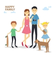 Happy cartoon family mother father son daughter vector image vector image