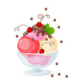 isolated ice cream on white with currant vector image vector image