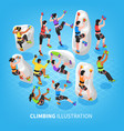 isometric climbing sports background vector image vector image