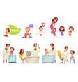 kids vaccine decorative icons set vector image
