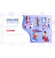 online shopping web banner cartoon template vector image vector image