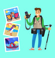 photographer with tripod on background pictures vector image