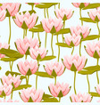 pink water lily lotus flowers seamless pattern vector image