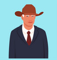 portrait an elderly man in a suit and cowboy vector image vector image