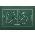 Realistic blackboard drawing a soccer game strateg vector image