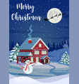 santa claus flies over the house in the snow vector image vector image