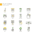 Set of modern office line flat design icons and vector image vector image