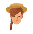 smiling woman face character young female vector image vector image