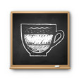 Square chalkboard with chalked latte coffee