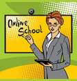 the teacher conducts an online lesson at school vector image
