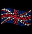 waving british flag pattern of euro icons vector image