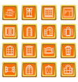 window design icons set orange square vector image vector image