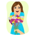 woman receiving bouquet of wild flowers vector image