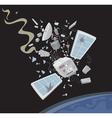wrecked satellite vector image